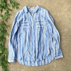 Boden Linen Striped Button Down Shirt